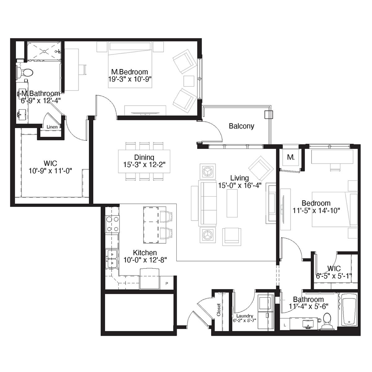 SilverCreek Apartment Floor Plan Two Bedroom