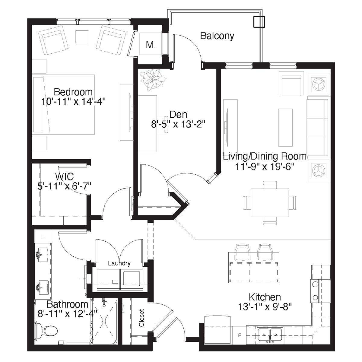 SilverCreek Apartment Floor Plan One Bedroom